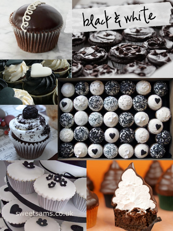 Black White cupcakes with hearts Just so cute